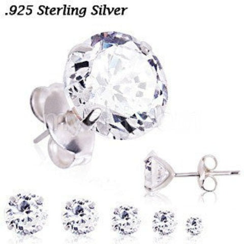 Pair of .925 Sterling Silver Clear Round CZ Stud Earrings - Fashion Hut Jewelry