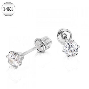 Pair of 14Kt. White Gold Round CZ Earring with Screw Back
