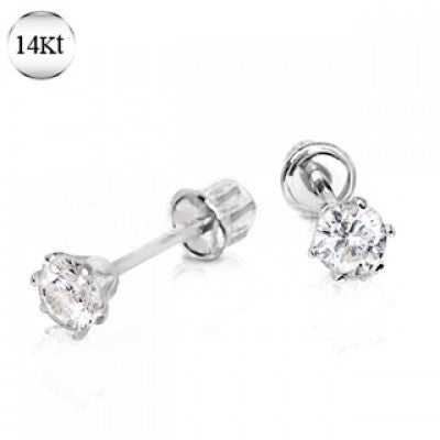 Pair of 14Kt. White Gold Round CZ Earring with Screw Back - Fashion Hut Jewelry