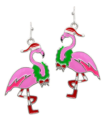 Christmas Flamingo Earrings - Fashion Hut Jewelry