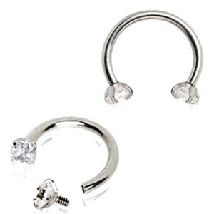316L Stainless Steel Internally Threaded Horseshoe with Prong Set CZ - Fashion Hut Jewelry