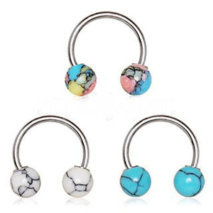 316L Stainless Steel Horseshoe with Synthetic Stones - Fashion Hut Jewelry