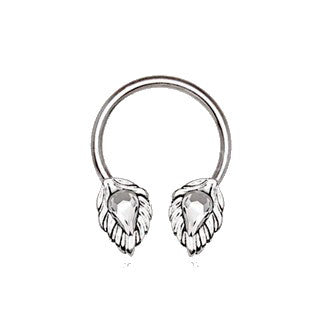316L Stainless Steel Silver Plated Jeweled Leaf Horseshoe - Fashion Hut Jewelry