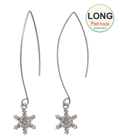 Crystal Snowflake long fish hook Earrings - Fashion Hut Jewelry