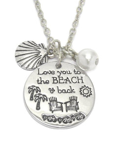 Love Beach and Back Charm Necklace - Fashion Hut Jewelry