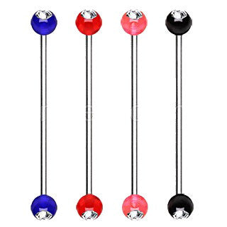 316L Surgical Steel Industrial Barbell with UV Acrylic Gemmed Ball - Fashion Hut Jewelry