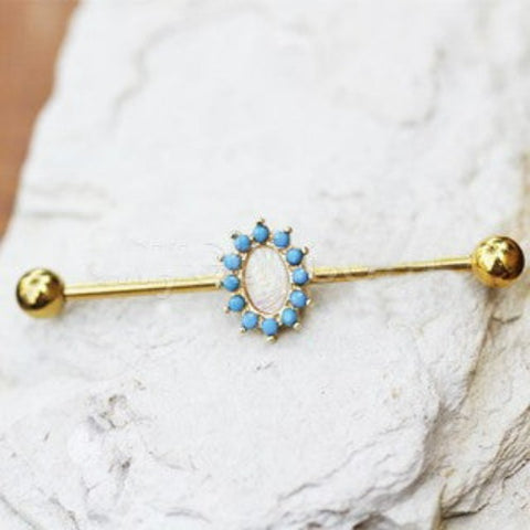 Gold Plated Halo White Synthetic Opal Industrial Barbell - Fashion Hut Jewelry