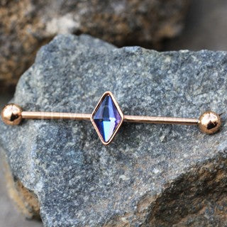 Rose Gold Plated Rhombus Shape CZ Industrial Barbell - Fashion Hut Jewelry