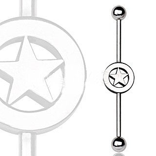 316L Surgical Steel Industrial Barbell with Star Logo - Fashion Hut Jewelry