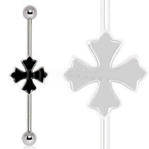 316L Industrial Barbell with Cross Patonce - Fashion Hut Jewelry