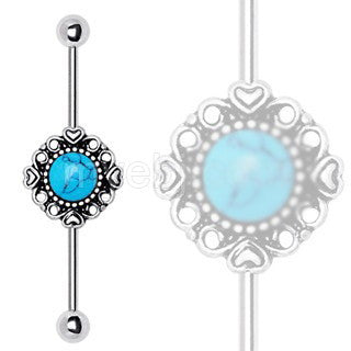 316L Stainless Steel Vintage Charm Industrial Barbell with Turquoise Stone - Fashion Hut Jewelry