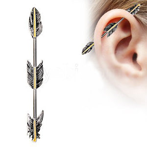 316L Stainless Steel Industrial Barbell with Golden Triple Tier Feathers - Fashion Hut Jewelry