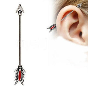 316L Stainless Steel Antique Tribal Arrow Industrial Barbell with Red Feather - Fashion Hut Jewelry