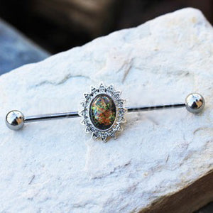316L Stainless Steel Industrial Barbell with Glass Stone Flower - Fashion Hut Jewelry