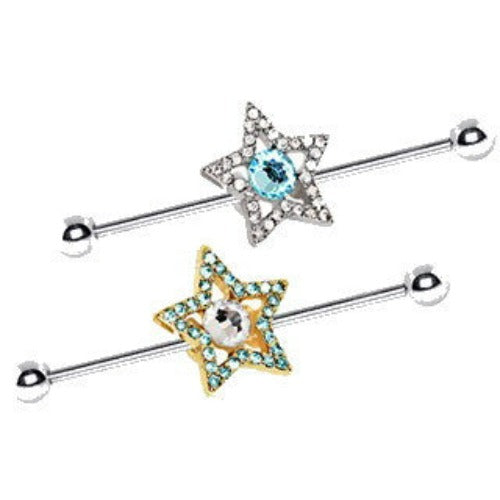 316L Stainless Steel Dazzling Star Industrial Barbell - Fashion Hut Jewelry