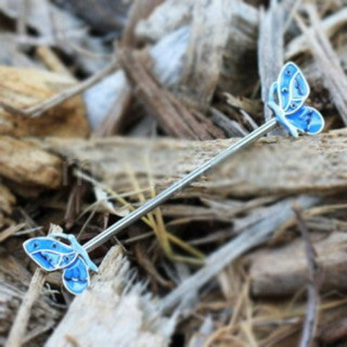 316L Stainless Steel Double Blue Butterfly Industrial Barbell - Fashion Hut Jewelry