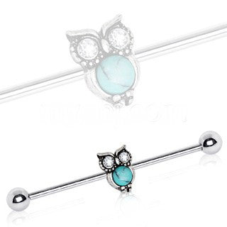 316L Stainless Steel Turquoise Owl Industrial Barbell - Fashion Hut Jewelry