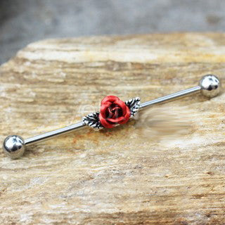316L Stainless Steel Red Rose Industrial Barbell - Fashion Hut Jewelry