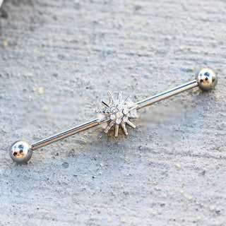 316L Stainless Steel Jeweled Sparkling Star Industrial Barbell - Fashion Hut Jewelry