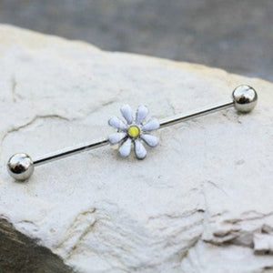 316L Stainless Steel White Daisy Industrial Barbell - Fashion Hut Jewelry
