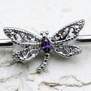 316L Stainless Steel Ornate Dragonfly Industrial Barbell - Fashion Hut Jewelry