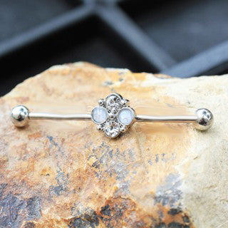 316L Stainless Steel Jeweled Flower Industrial Barbell - Fashion Hut Jewelry