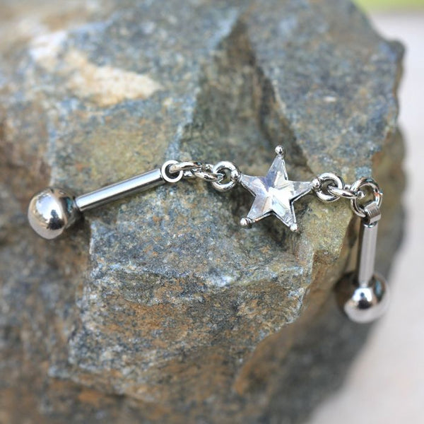 316L Stainless Steel Prong Set Star Chain Industrial Barbell - Fashion Hut Jewelry