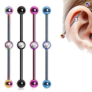 PVD Plated Industrial Barbell with Gem Ball in the Center - Fashion Hut Jewelry