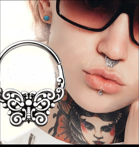 316L Stainless Steel Ornate Butterfly Seamless Ring / Septum Ring - Fashion Hut Jewelry