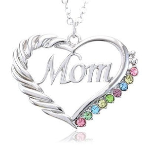 Mom Crystal Heart Necklace - Fashion Hut Jewelry