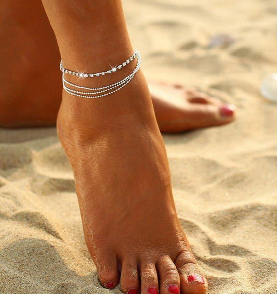 Multi Row Crystal Chain Anklet Ankle Bracelet - Fashion Hut Jewelry