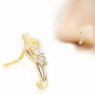Gold Plated Jeweled Heart L Bend Half Nose Hoop - Fashion Hut Jewelry