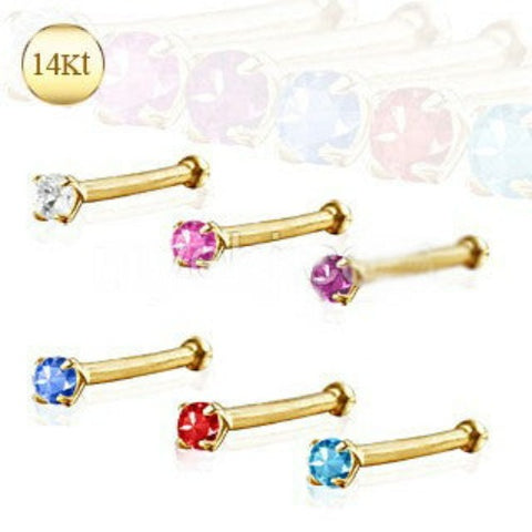 14Kt Yellow Gold Stud Nose Ring with Prong Setting Gem - Fashion Hut Jewelry