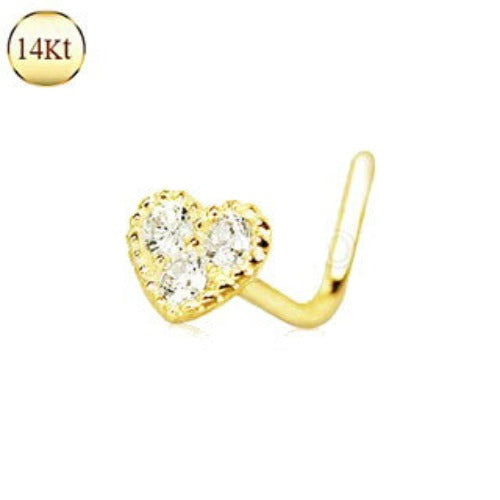 14Kt Yellow Gold Clear CZ Heart L Bend Nose Ring - Fashion Hut Jewelry