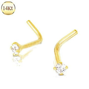 14Kt Yellow Gold Prong Set Clear CZ L Bend Nose Ring - Fashion Hut Jewelry
