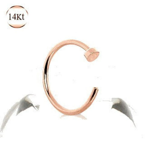 14Kt Rose Gold Nose Hoop Ring - Fashion Hut Jewelry