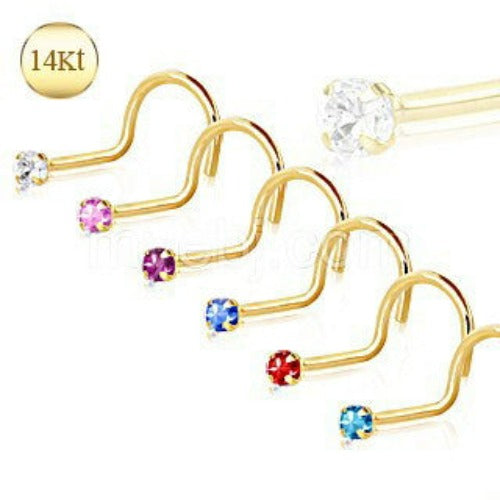 14Kt Yellow Gold Screw Nose Ring with Prong Setting Gem - Fashion Hut Jewelry