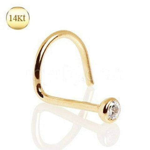 14Kt Yellow Gold Screw Nose Ring with Press Fit CZ - Fashion Hut Jewelry