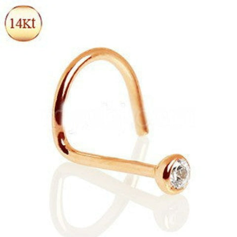 14Kt Rose Gold Nose Screw with Press Fit CZ - Fashion Hut Jewelry
