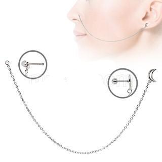 316L Stainless Steel Moon Chain Nose + Cartilage Earring - Fashion Hut Jewelry