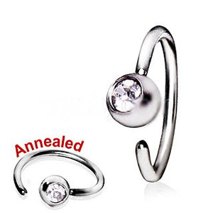 316L Surgical Steel Annealed Press Fit CZ Ball Nose Hoop - Fashion Hut Jewelry