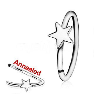 316L Surgical Steel Annealed Star Nose Hoop - Fashion Hut Jewelry