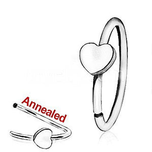 316L Surgical Steel Annealed Heart Nose Hoop - Fashion Hut Jewelry