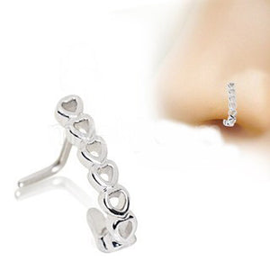 316L Stainless Steel Heart L Bend Half Nose Hoop - Fashion Hut Jewelry