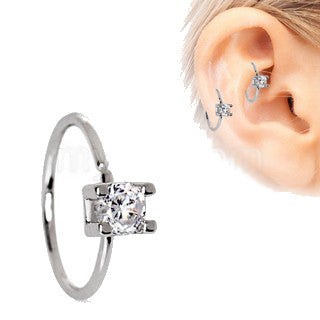 316L Stainless Steel Prong Set CZ Cartilage Earring - Fashion Hut Jewelry