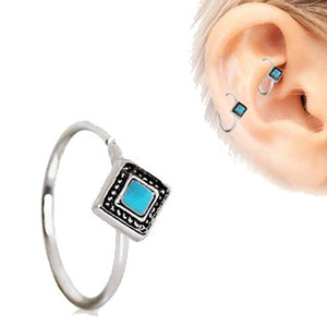 316L Stainless Steel Rhombus Cut Turquoise Cartilage Earring - Fashion Hut Jewelry