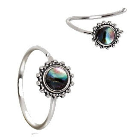 316L Stainless Steel Abalone Shell Charm Nose Hoop / Cartilage Earring - Fashion Hut Jewelry