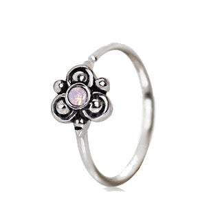 316L Stainless Steel Pink Ornate Flower Nose Hoop / Cartilage Earring - Fashion Hut Jewelry