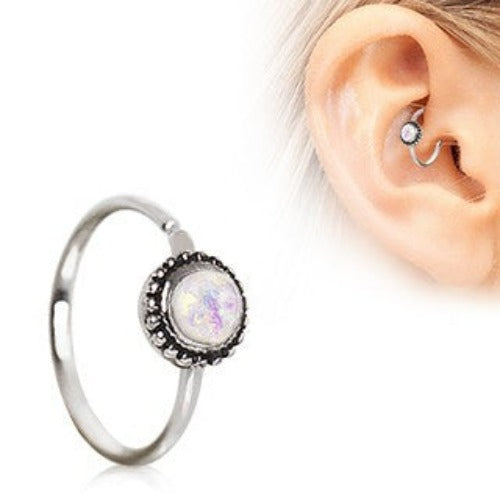 316L Stainless Steel White Synthetic Opal Ornate Cartilage Hoop Earring - Fashion Hut Jewelry