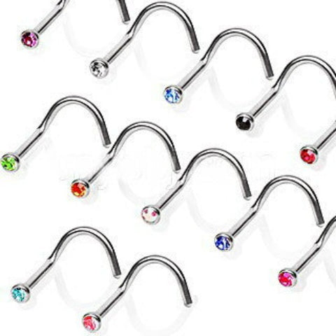 Screw Nose Ring with Press Fitted Gem - Fashion Hut Jewelry